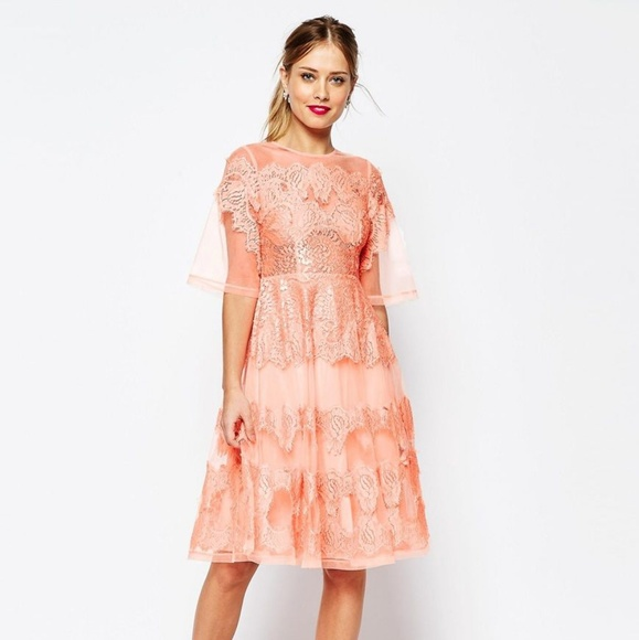 30fa106632df ASOS Dresses | Pink Peach Salon Lace And Organza Midi Dress | Poshmark